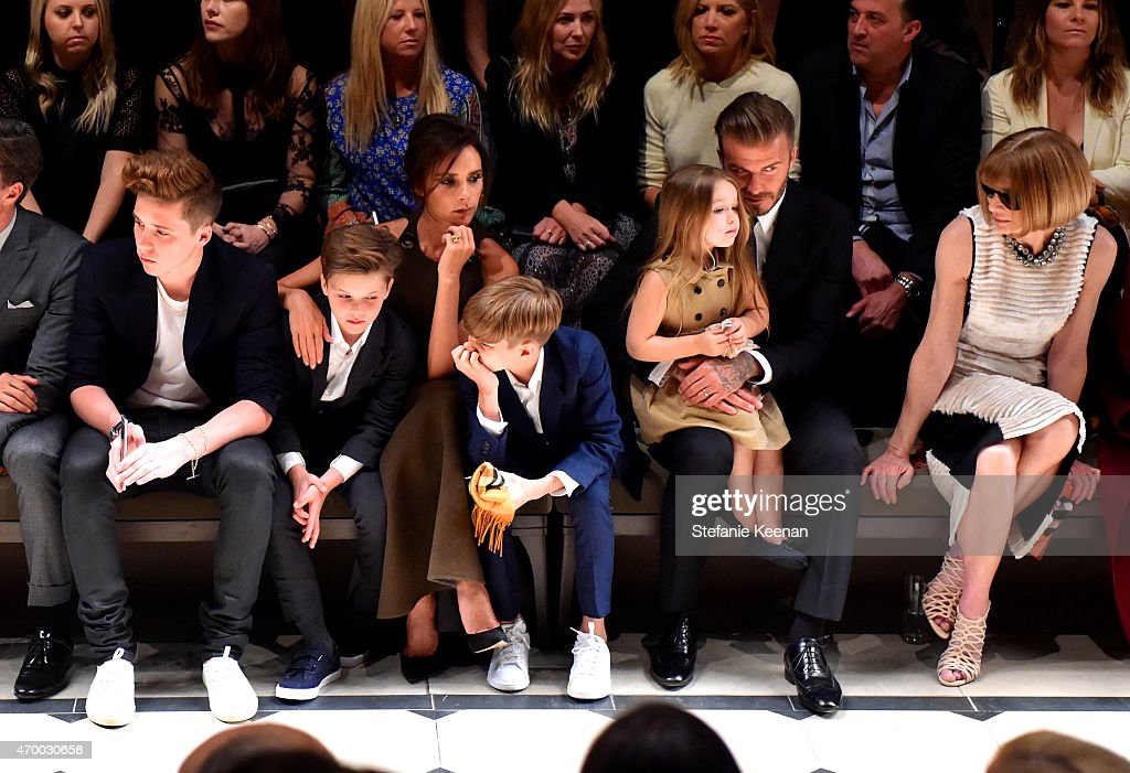 <a gi-track='captionPersonalityLinkClicked' href=/galleries/search?phrase=Brooklyn+Beckham&family=editorial&specificpeople=214623 ng-click='$event.stopPropagation()'>Brooklyn Beckham</a>, <a gi-track='captionPersonalityLinkClicked' href=/galleries/search?phrase=Cruz+Beckham&family=editorial&specificpeople=4337497 ng-click='$event.stopPropagation()'>Cruz Beckham</a>, <a gi-track='captionPersonalityLinkClicked' href=/galleries/search?phrase=Victoria+Beckham&family=editorial&specificpeople=161100 ng-click='$event.stopPropagation()'>Victoria Beckham</a>, <a gi-track='captionPersonalityLinkClicked' href=/galleries/search?phrase=Romeo+Beckham&family=editorial&specificpeople=171832 ng-click='$event.stopPropagation()'>Romeo Beckham</a>, <a gi-track='captionPersonalityLinkClicked' href=/galleries/search?phrase=Harper+Beckham&family=editorial&specificpeople=8262359 ng-click='$event.stopPropagation()'>Harper Beckham</a>, <a gi-track='captionPersonalityLinkClicked' href=/galleries/search?phrase=David+Beckham&family=editorial&specificpeople=158480 ng-click='$event.stopPropagation()'>David Beckham</a> and editor-in-chief of American Vogue <a gi-track='captionPersonalityLinkClicked' href=/galleries/search?phrase=Anna+Wintour&family=editorial&specificpeople=202210 ng-click='$event.stopPropagation()'>Anna Wintour</a> attend the Burberry 'London in Los Angeles' event at Griffith Observatory on April 16, 2015 in Los Angeles, California.