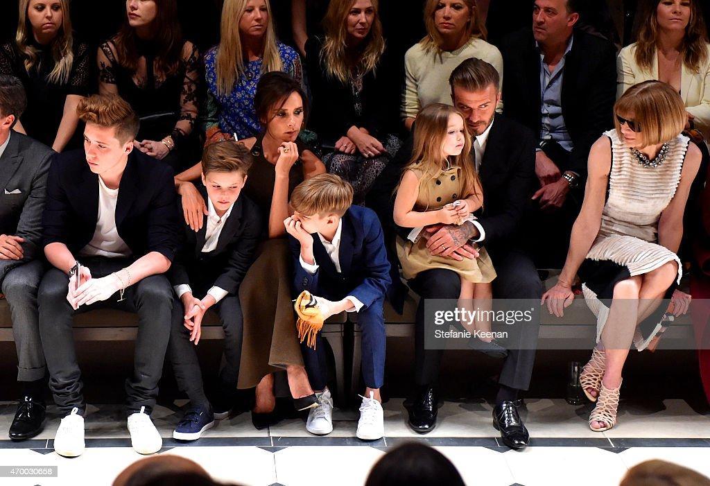 Brooklyn Beckham Cruz Beckham Victoria Beckham Romeo Beckham Harper Beckham David Beckham and editorinchief of American Vogue Anna Wintour attend the...