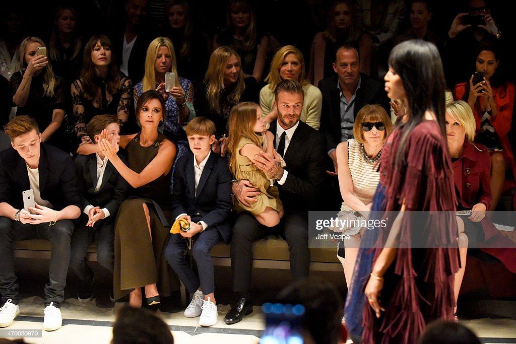 Brooklyn Beckham Cruz Beckham Victoria Beckham Romeo Beckham Harper Beckham David Beckham editorinchief of American Vogue Anna Wintour and Julia...