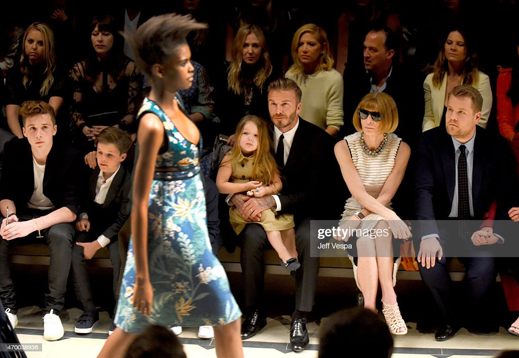 Brooklyn Beckham, Cruz Beckham, Victoria Beckham, Romeo Beckham, Harper Beckham, David Beckham, editor-in-chief of American Vogue Anna Wintour and tv personality James Corden attend the Burberry 'London in Los Angeles' event at Griffith Observatory on April 16, 2015 in Los Angeles, California.