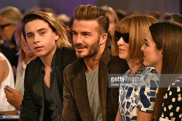 Brooklyn Beckham David Beckham and Anna Wintour at the Victoria Beckham Ready to Wear Spring Summer Ready to Wear 2017 Women's Fashion Show during...