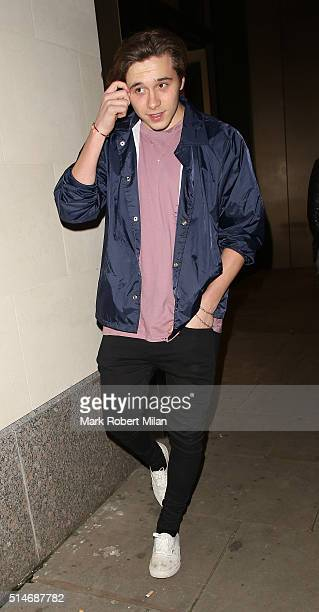 Brooklyn Beckham leaving Phillips auction house on March 10 2016 in London England