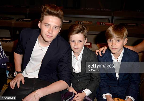 Brooklyn Beckham Romeo Beckham and Cruz Beckham attend the Burberry 'London in Los Angeles' event at Griffith Observatory on April 16 2015 in Los...