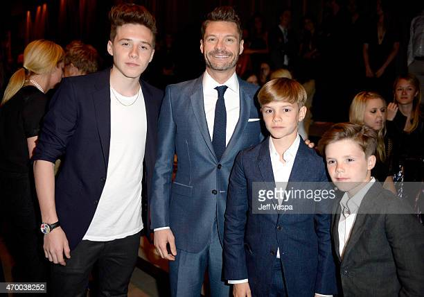 Brooklyn Beckham Ryan Seacrest Romeo Beckham and Cruz Beckham attend the Burberry 'London in Los Angeles' event at Griffith Observatory on April 16...