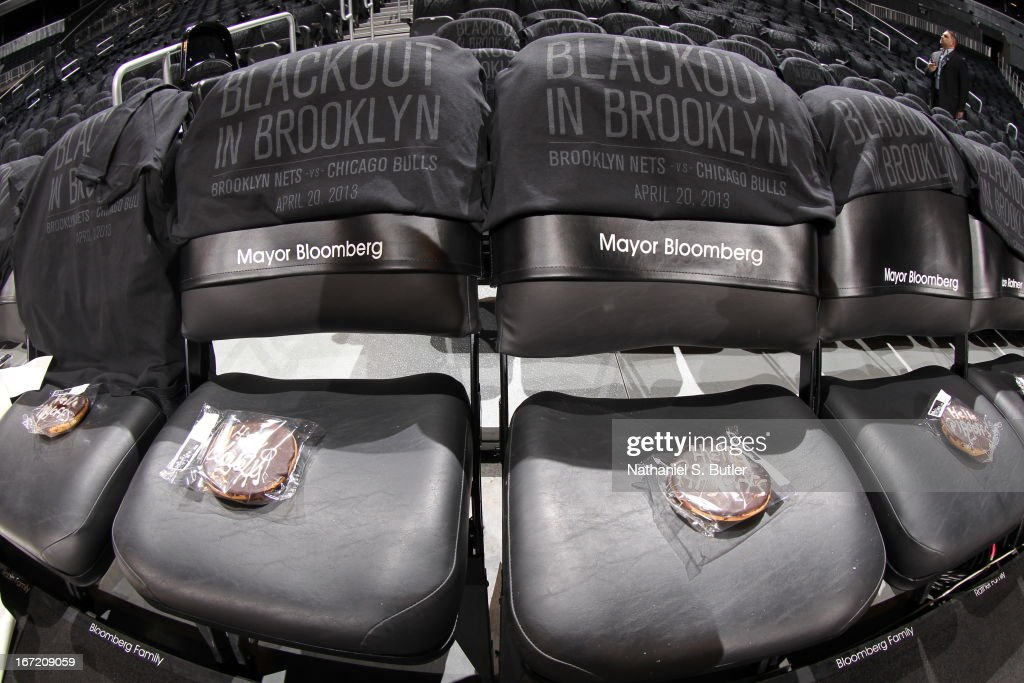 Brooklyn blackout promotion during the game between the Brooklyn Nets and Chicago Bulls in Game One of the Eastern Conference Quarterfinals during the 2013 NBA Playoffs on April 20 at the Barclays Center in the Brooklyn borough of New York City.