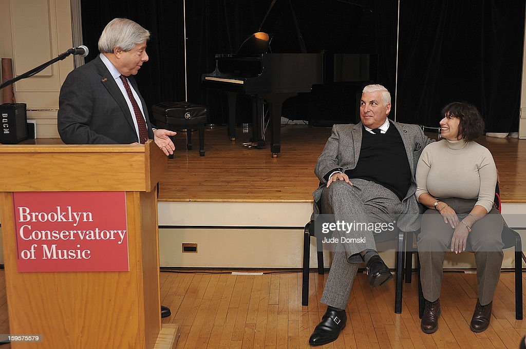 Brooklyn Borough President Marty Markowitz, Mitch Winehouse and Janis Winehouse attend the Amy Winehouse Foundation grant presentation at the Brooklyn Conservatory of Music on January 16, 2013 in the Brooklyn borough of New York City.