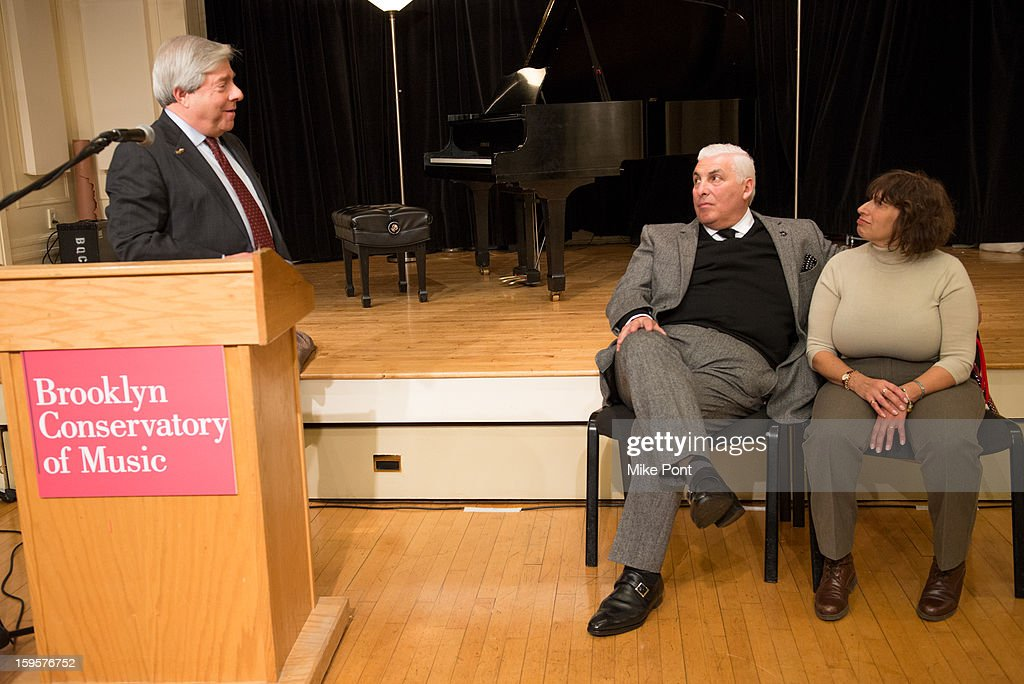 Brooklyn Borough President Marty Markowitz, Mitch Winehouse and <a gi-track='captionPersonalityLinkClicked' href=/galleries/search?phrase=Janis+Winehouse&family=editorial&specificpeople=4878411 ng-click='$event.stopPropagation()'>Janis Winehouse</a> attend the Amy Winehouse Foundation Grant award presentation at Brooklyn Conservatory of Music on January 16, 2013 in New York City.