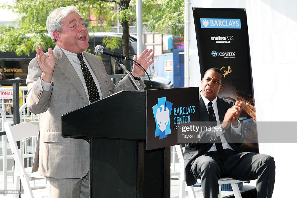 Brooklyn Borough President Marty Markowitz speaks while Brooklyn Nets co-owner Shawn Carter a.k.a. <a gi-track='captionPersonalityLinkClicked' href=/galleries/search?phrase=Jay-Z&family=editorial&specificpeople=201664 ng-click='$event.stopPropagation()'>Jay-Z</a> attends the Barclays Center press conference at Atlantic Terminal on September 26, 2011 in the Brooklyn borough of New York City.