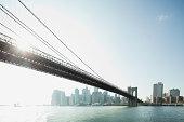 Brooklyn Bridge and lower Manhattan, New York City, New York, USA