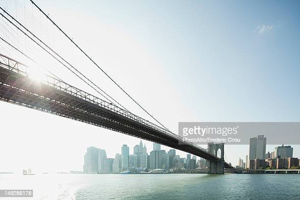 Brooklyn Bridge and lower Manhattan, New York City, New York, USA