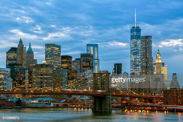 Brooklyn Bridge And Manhattan Skyline at Dusk, New York