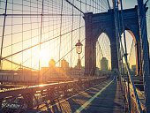 Brooklyn Bridge and New York skyline at dawn
