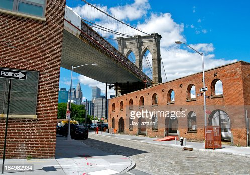 Brooklyn Bridge as seen from Water Street, DUMBO, NYC