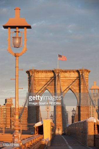 Brooklyn Bridge at sunset : Stock Photo
