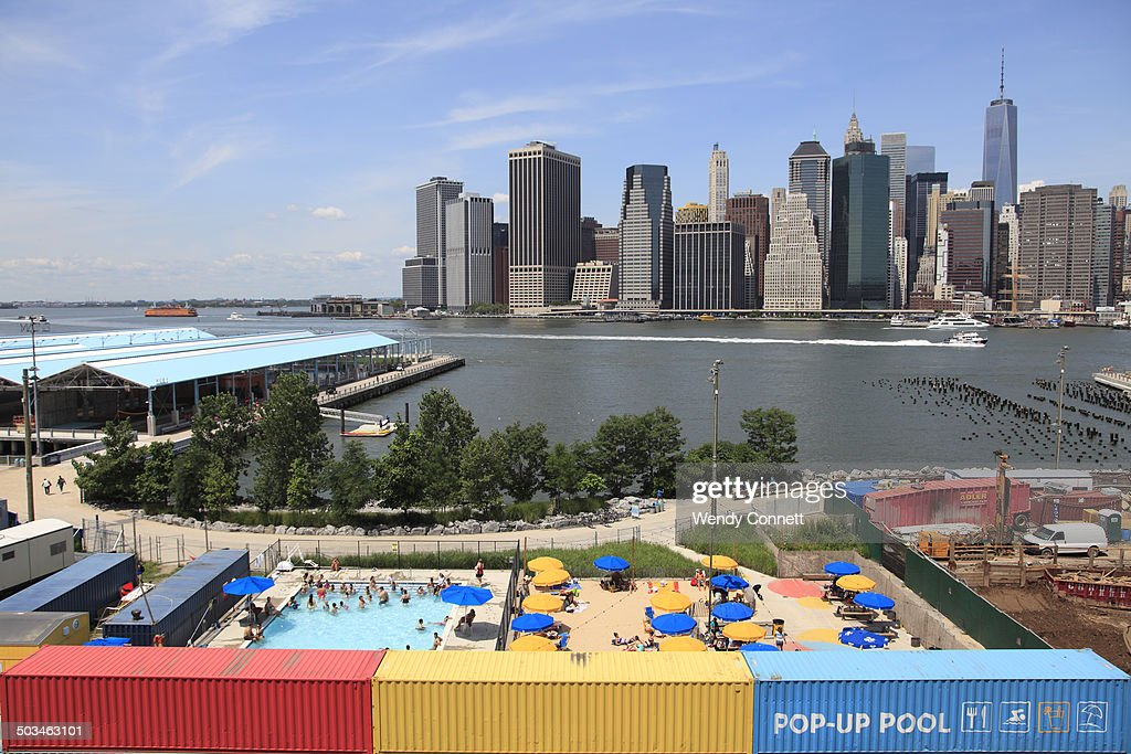 Brooklyn Bridge Park Pop Up Beach and Pool with East River and lower Manhattan skyline in background Brooklyn Heights Brooklyn New York City USA