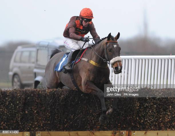 Brooklyn Brownie and Harry Haynes jump the final fence in the Sorrelcourt Stud Handicap Chase at Doncaster Racecourse Doncaster