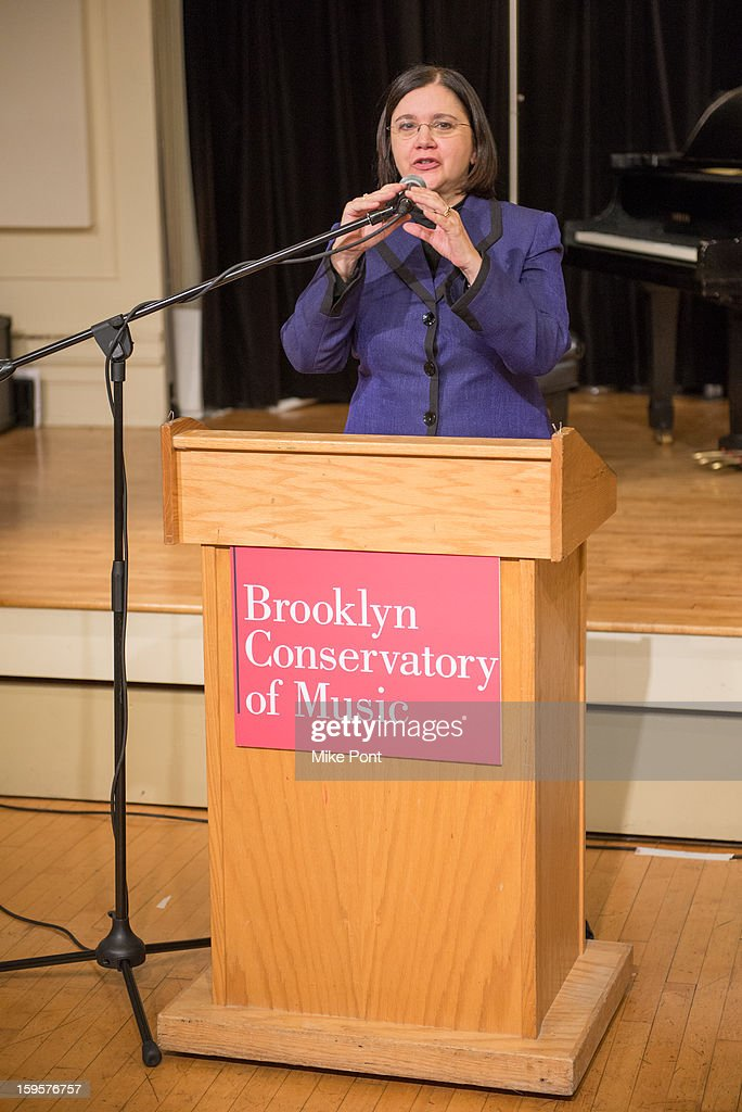 Brooklyn Conservatory of Music Executive Director Karen Geer attends the Amy Winehouse Foundation Grant award presentation at Brooklyn Conservatory of Music on January 16, 2013 in New York City.