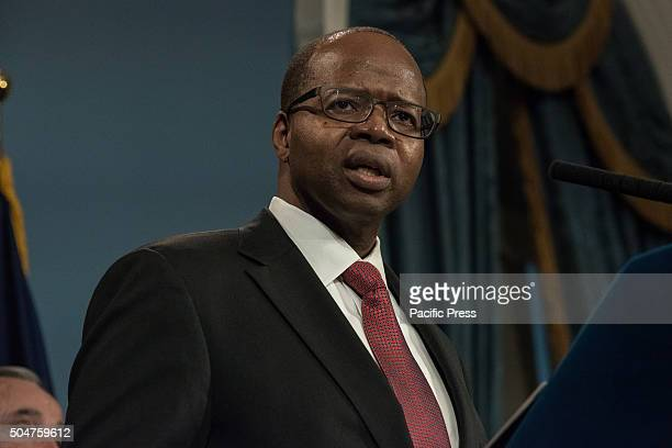 Brooklyn DA Ken Thompson speaks at the City Hall press conference New York City Mayor Bill de Blasio accompanied by NYPD Commissioner Bill Bratton...
