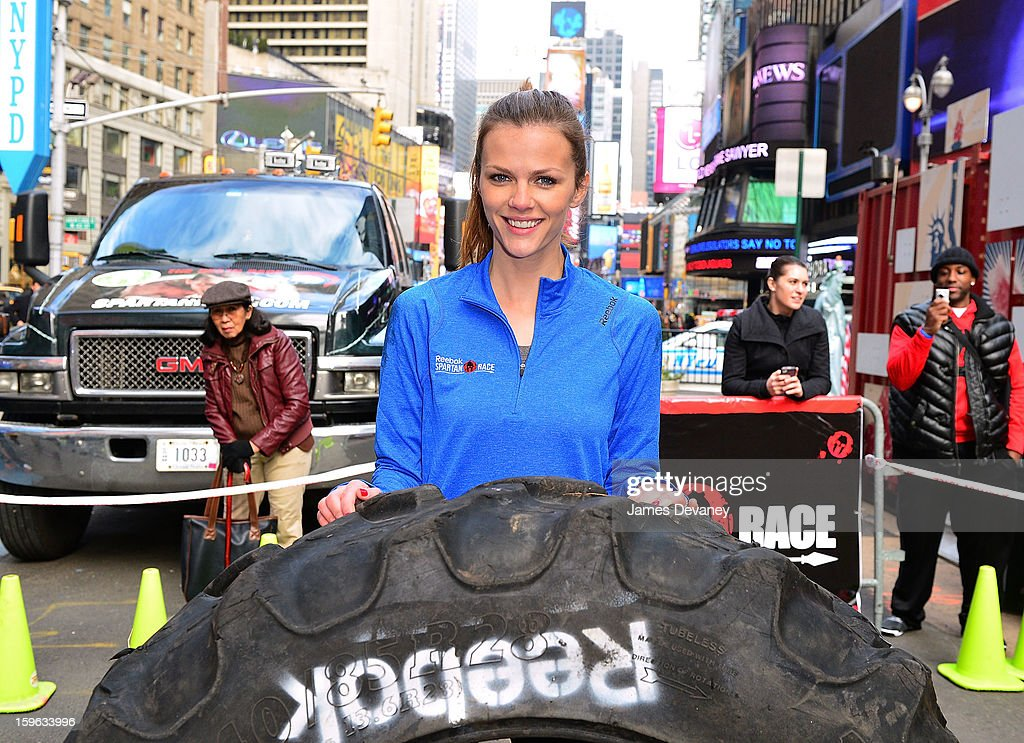 <a gi-track='captionPersonalityLinkClicked' href=/galleries/search?phrase=Brooklyn+Decker&family=editorial&specificpeople=815965 ng-click='$event.stopPropagation()'>Brooklyn Decker</a> tackles The Reebok Spartan Race Times Square Challenge in Times Square on January 17, 2013 in New York City.