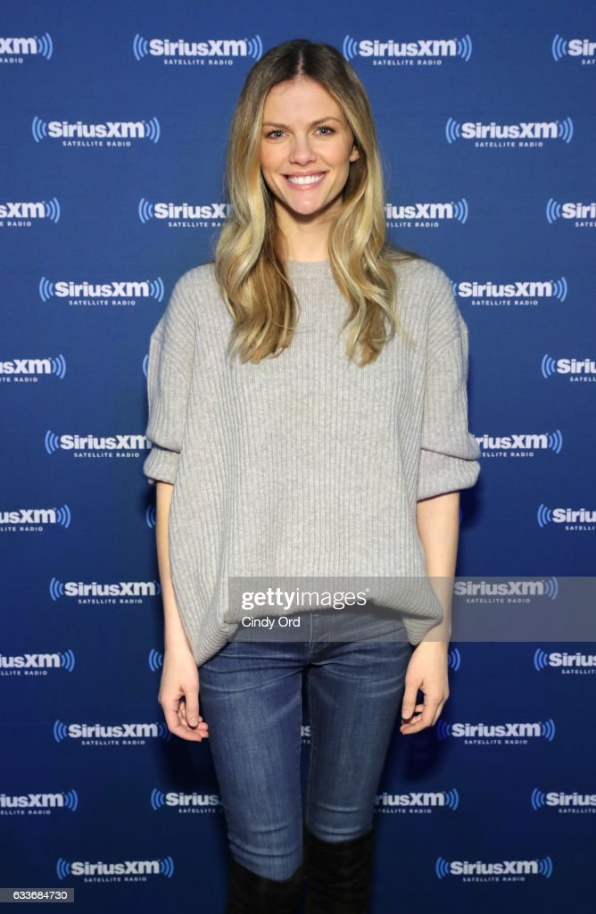 Brooklyn Decker visits the SiriusXM set at Super Bowl LI Radio Row at the George R. Brown Convention Center on February 3, 2017 in Houston, Texas.