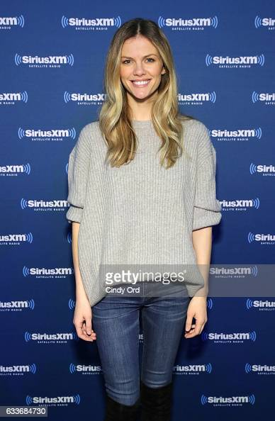 Brooklyn Decker visits the SiriusXM set at Super Bowl LI Radio Row at the George R Brown Convention Center on February 3 2017 in Houston Texas
