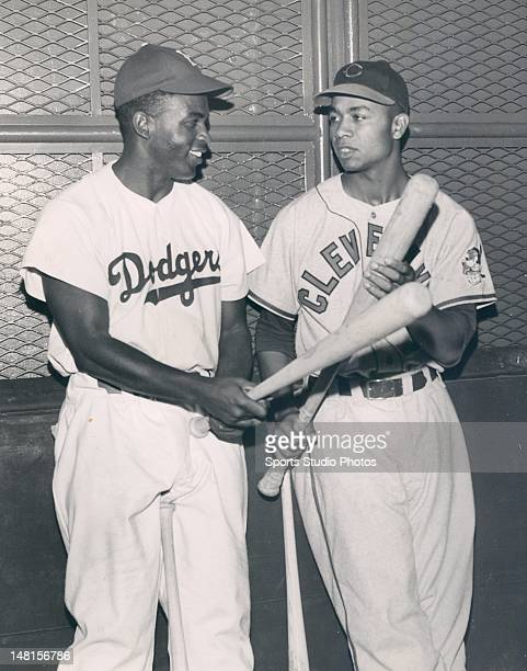 Brooklyn Dodger Jackie Robinson and Cleveland Indian Larry Doby photographed together for the first time