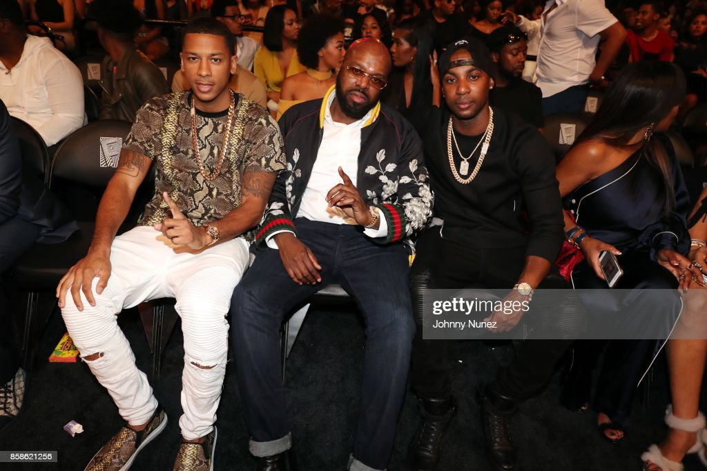 Brooklyn Johnny, J Class, and Shaft attend the 2017 BET Hip Hop Awards on October 6, 2017 in Miami Beach, Florida.