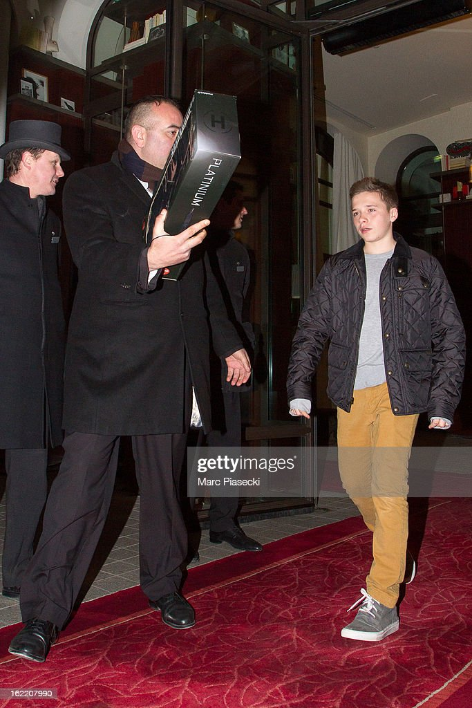Brooklyn Joseph Beckham is sighted leaving the 'Royal Monceau' hotel after a birthday dinner for his brother Cruz on February 20, 2013 in Paris, France.