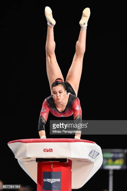 Brooklyn Moors of Canada competes on the vault during the qualification round of the Artistic Gymnastics World Championships on October 3 2017 at...