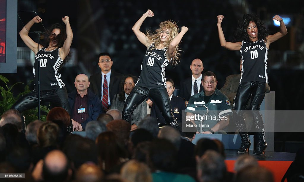 Brooklyn Nets cheerleaders perform before New York Mayor Michael Bloomberg delivered the annual State of the City address at the Barclays Center on February 14, 2013 in the Brooklyn borough of New York City. Bloomberg cited positive statistics including a record 52 million visitors to the city and a record low 419 homicides in 2012 while calling for a ban on styrofoam in the city.