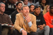 Brooklyn Nets coach PJ Carlesimo looks on during the game against Cleveland Cavaliers at the Barclays Center on December 29 2012 in Brooklyn New York...