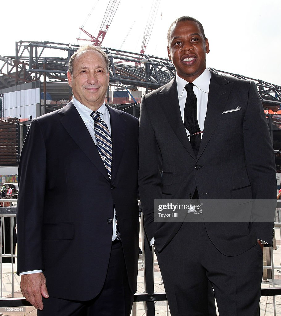 Brooklyn Nets co-owners <a gi-track='captionPersonalityLinkClicked' href=/galleries/search?phrase=Bruce+Ratner&family=editorial&specificpeople=2154379 ng-click='$event.stopPropagation()'>Bruce Ratner</a> and Shawn Carter attend the Barclays Center press conference at Atlantic Terminal on September 26, 2011 in the Brooklyn borough of New York City.