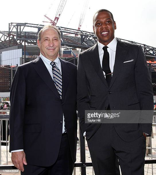 Brooklyn Nets coowners Bruce Ratner and Shawn Carter attend the Barclays Center press conference at Atlantic Terminal on September 26 2011 in the...