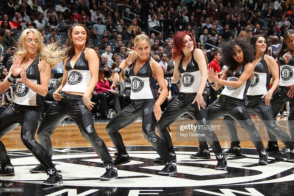 Brooklyn Nets Dancers entertain the crowd against the Atlanta Hawks at the Barclays Center on January 18, 2013 in the Brooklyn borough of New York City in New York City.