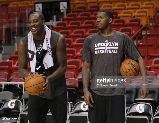 Brooklyn Nets forward Andray Blatche left with teammate guard Joe Johnson during practice on Wednesday May 7 2014 at the AmericanAirlines Arena in...