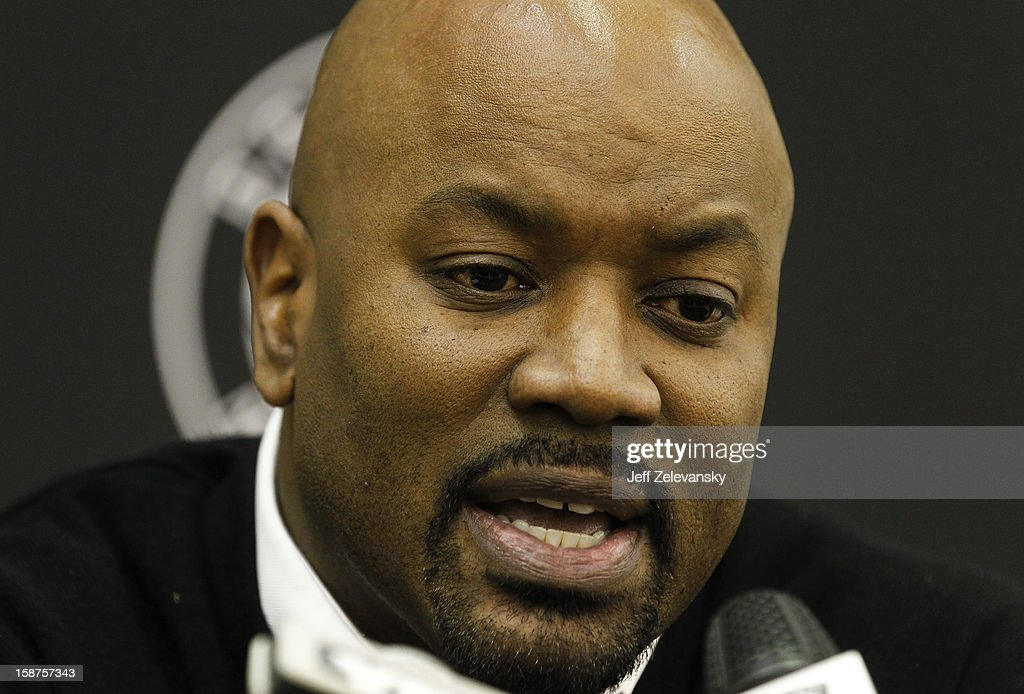 Brooklyn Nets general manager Billy King announces the firing of head coach Avery Johnson during a news conference at the PNY Center on December 27, 2012 in East Rutherford, New Jersey.