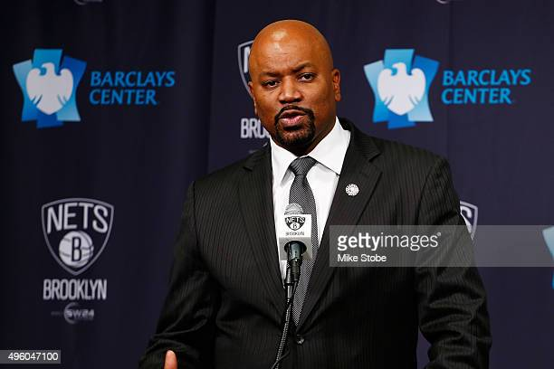 Brooklyn Nets General Manager Billy King speaks to the media during a press conference to anounce the Brooklyn Nets DLeague team the Long Island Nets...