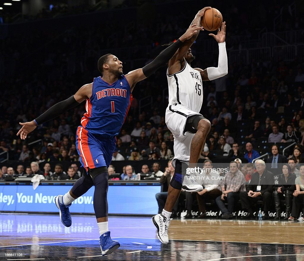 Brooklyn Nets Gerald Willaims (R) drives against Detroit Pistons Andre Drummond during their NBA game at the Barclays Center on April 17, 2013 in the Brooklyn borough of New York City. AFP PHOTO / TIMOTHY A. CLARY