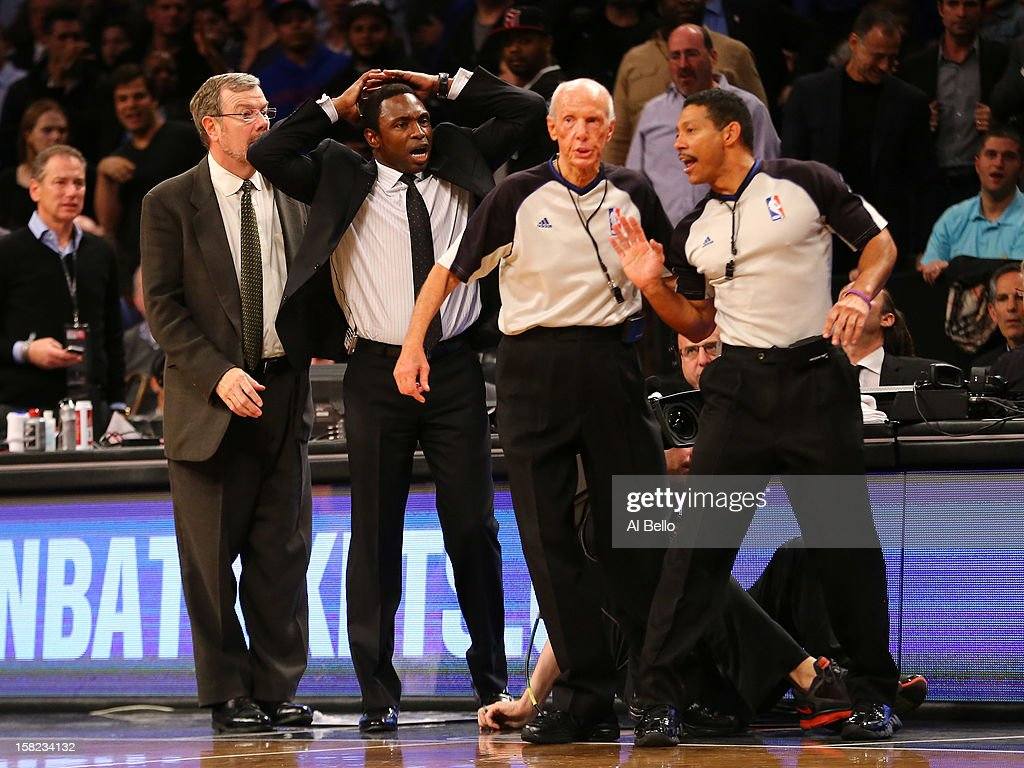 Brooklyn Nets Head Coach Avery Johnson argues with the referees during their game against the New York Knicks at the Barclays Center on December 11, 2012 in the Brooklyn borough of New York City.