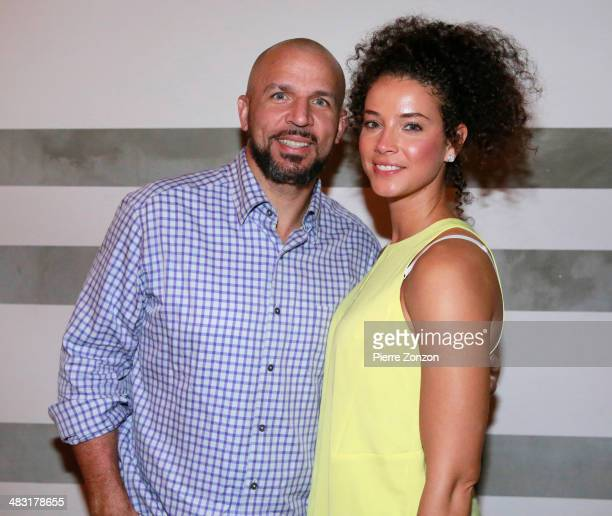 Brooklyn Nets Head Coach Jason Kidd and Porschla Kidd are seen at Seasalt and Pepper restaurant in Miami on April 6 2014 in Miami Florida