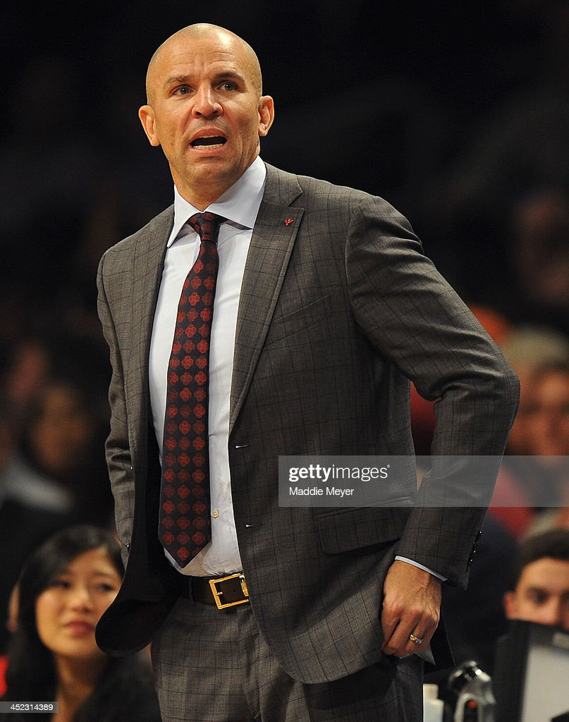Brooklyn Nets head coach <a gi-track='captionPersonalityLinkClicked' href=/galleries/search?phrase=Jason+Kidd&family=editorial&specificpeople=201560 ng-click='$event.stopPropagation()'>Jason Kidd</a> directs his team during the first half against the Los Angeles Lakers at Barclays Center on November 27, 2013 in the Brooklyn borough of New York City.