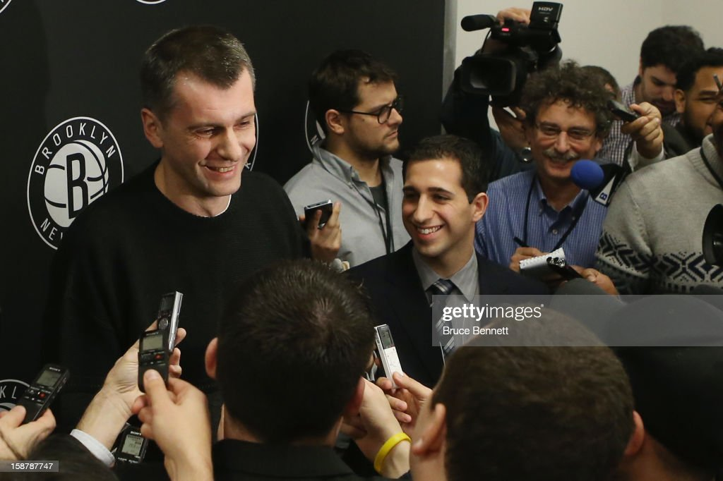 Brooklyn Nets owner Mikhail Prokhorov addresses the media regarding the firing of Avery Johnson at halftime of the game between the Nets and the Charlotte Bobcats at the Barclays Center on December 28, 2012 in the Brooklyn borough of New York City.
