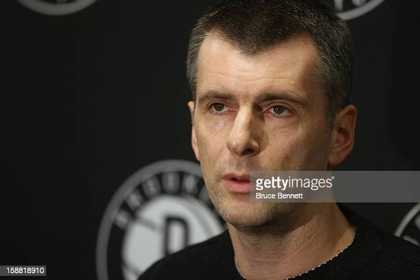 Brooklyn Nets owner Mikhail Prokhorov addresses the media regarding the firing of Avery Johnson at halftime of the game between the Nets and the...