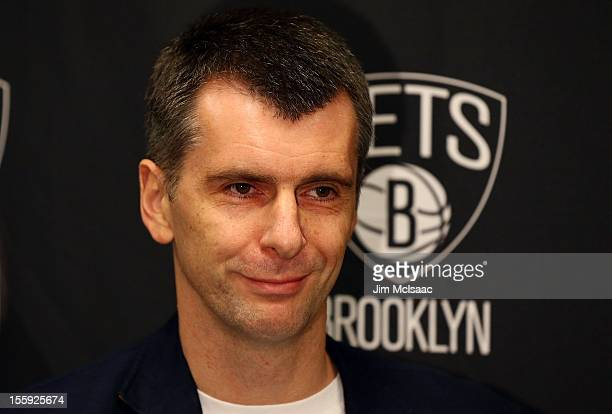 Brooklyn Nets owner Mikhail Prokhorov looks on during a press conference before a game against the Minnesota Timberwolves at the Barclays Center on...