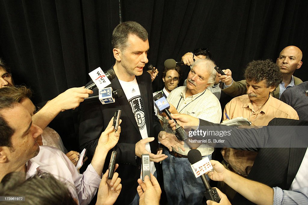Brooklyn Nets Owner <a gi-track='captionPersonalityLinkClicked' href=/galleries/search?phrase=Mikhail+Prokhorov&family=editorial&specificpeople=4102603 ng-click='$event.stopPropagation()'>Mikhail Prokhorov</a> speaks to reporters during a press conference at the Barclays Center on July 18, 2013 in the Brooklyn borough of New York City.
