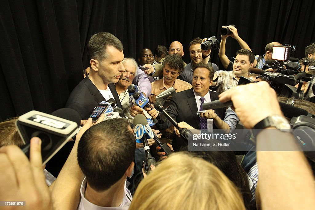 Brooklyn Nets Owner Mikhail Prokhorov speaks to reporters during a press conference at the Barclays Center on July 18, 2013 in the Brooklyn borough of New York City.