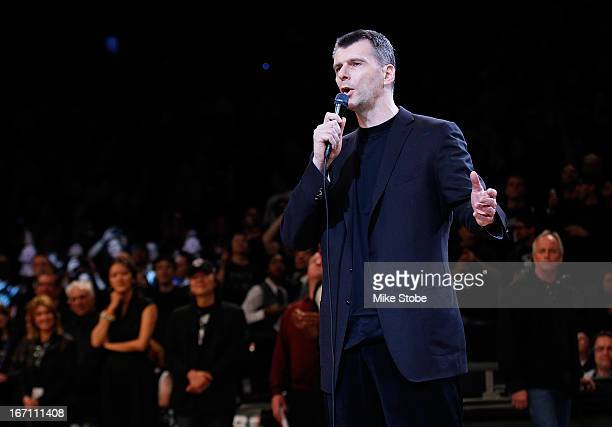 Brooklyn Nets Owner Mikhail Prokhorov speaks to the crowd prior to the game between the Brooklyn Nets and the Chicago Bulls during Game One of the...