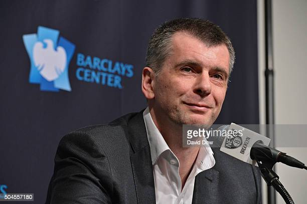 Brooklyn Nets Owner Mikhail Prokhorov speaks with the media during a press conference at Barclays Center on January 11 2016 in Brooklyn New York NOTE...