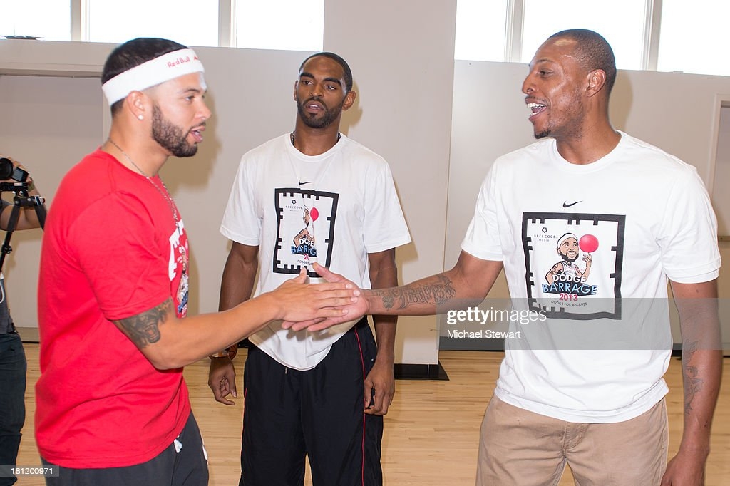 Brooklyn Nets players <a gi-track='captionPersonalityLinkClicked' href=/galleries/search?phrase=Deron+Williams&family=editorial&specificpeople=203215 ng-click='$event.stopPropagation()'>Deron Williams</a>, <a gi-track='captionPersonalityLinkClicked' href=/galleries/search?phrase=Alan+Anderson&family=editorial&specificpeople=3945355 ng-click='$event.stopPropagation()'>Alan Anderson</a> and <a gi-track='captionPersonalityLinkClicked' href=/galleries/search?phrase=Paul+Pierce&family=editorial&specificpeople=201562 ng-click='$event.stopPropagation()'>Paul Pierce</a> attend Dodge Barrage 2013 at Pier 36 on September 19, 2013 in New York City.