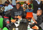 Brooklyn Nets' Tyshawn Taylor hosts a Halloween Monster Mash for 50 children from New York City Housing Authority Brooklyn residences at The Brooklyn...